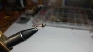 Bead head Copper John nymph trout fly